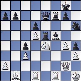 Posición de la partida de ajedrez Portisch - Ulvestad Olaf, después de 32... Axf5!?