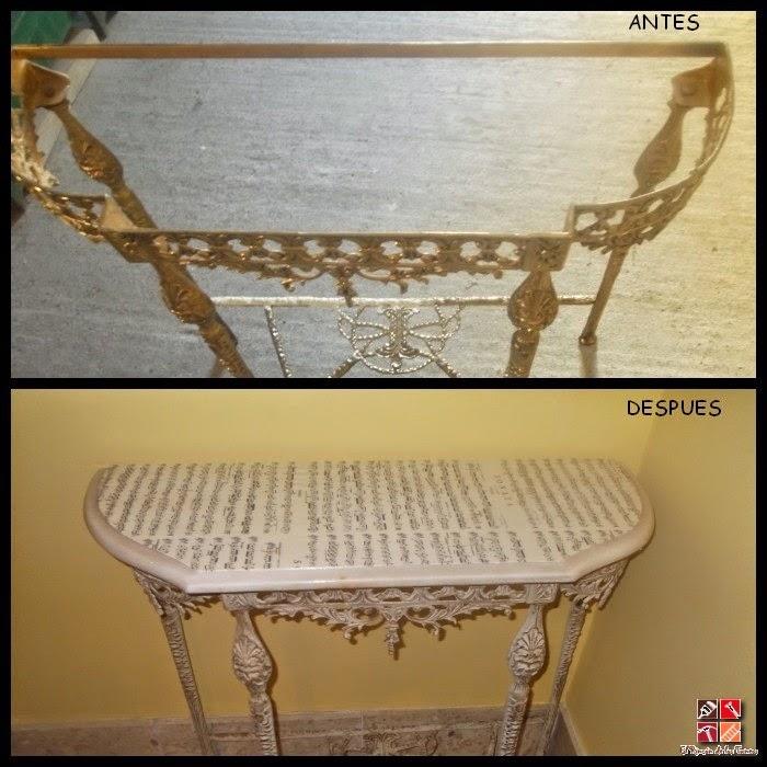 antes y después de una consola con pintura a la tiza