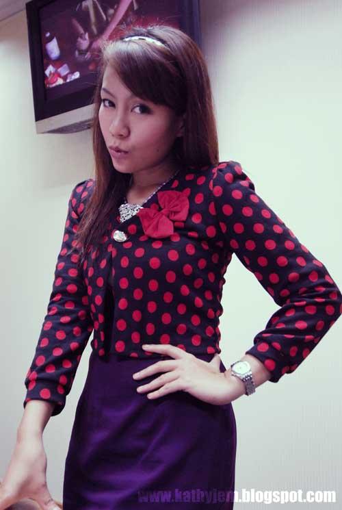 Kathyjem Baju Polka Dot Merah Dan Hitam