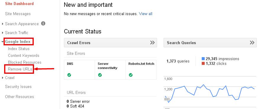 Remove URL Google Index Search Engine