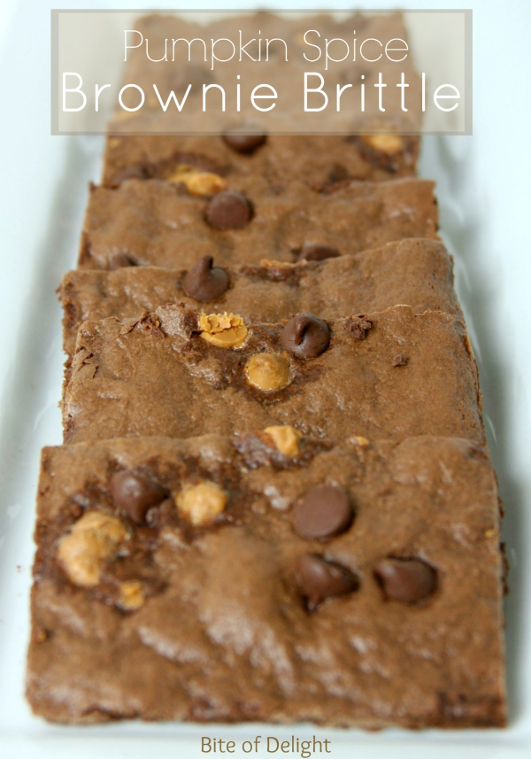 Pumpkink Spice Brownie Brittle is easy to make and SO delish!  Crispy, crunchy, and chocolatey...yum!