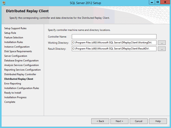 configure SQL Server directory locations
