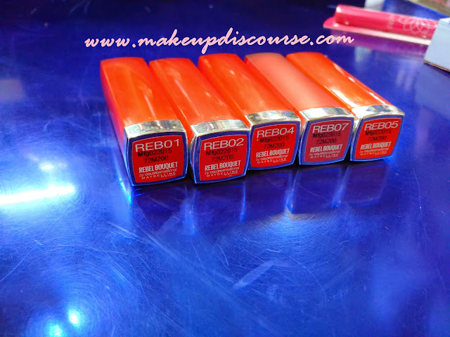 Maybelline Colorsensational Rebel Bouquet Lipstick Swatches: REB01, REB02, REB04, REB05, REB07 in India
