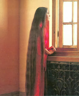 Women with very long hair