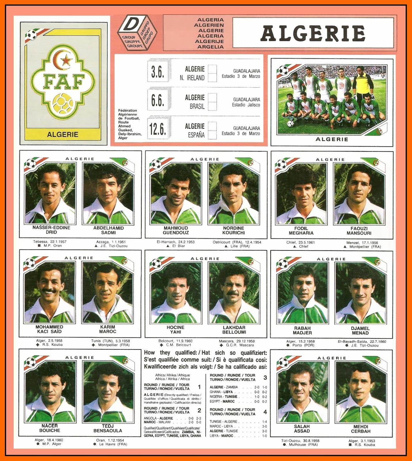 Old school panini l 39 quipe d 39 alg rie de 1982 et 1986 dop e son insu - Algerie disqualifie coupe du monde ...