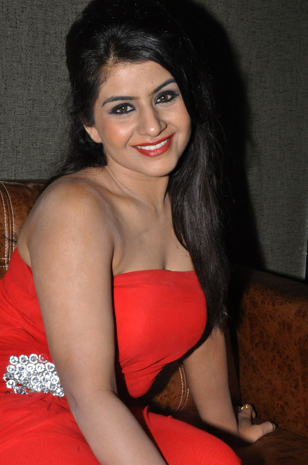 hot sexy exotic Model manisha marzara in red strip less hot photo shoot gallery