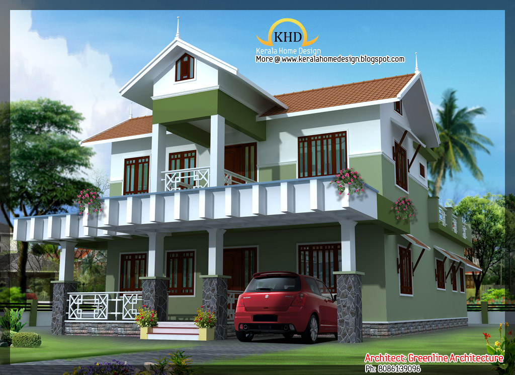 Beautiful villa elevation 1800 sq ft kerala home for Beautiful villa design