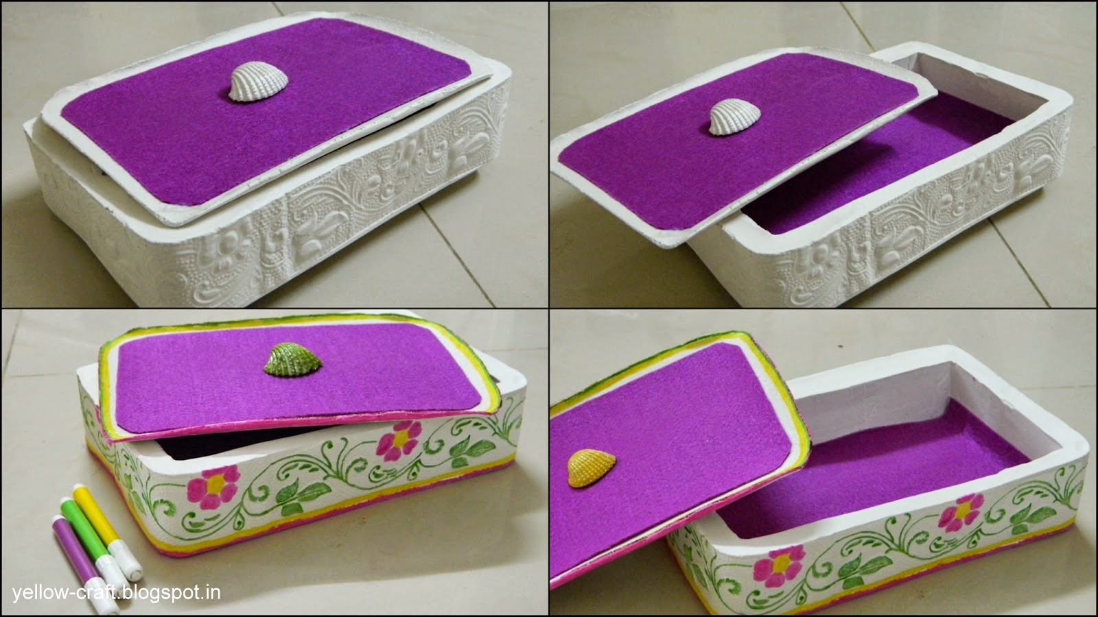 Plaster of paris jewelry box tutorial yellow craft for Handmade things step by step