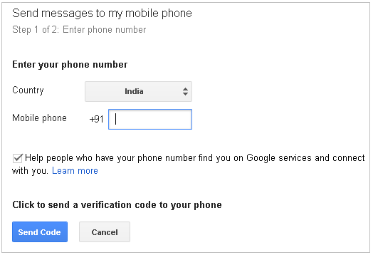 Verify Mobile for Google+ hangout SMS