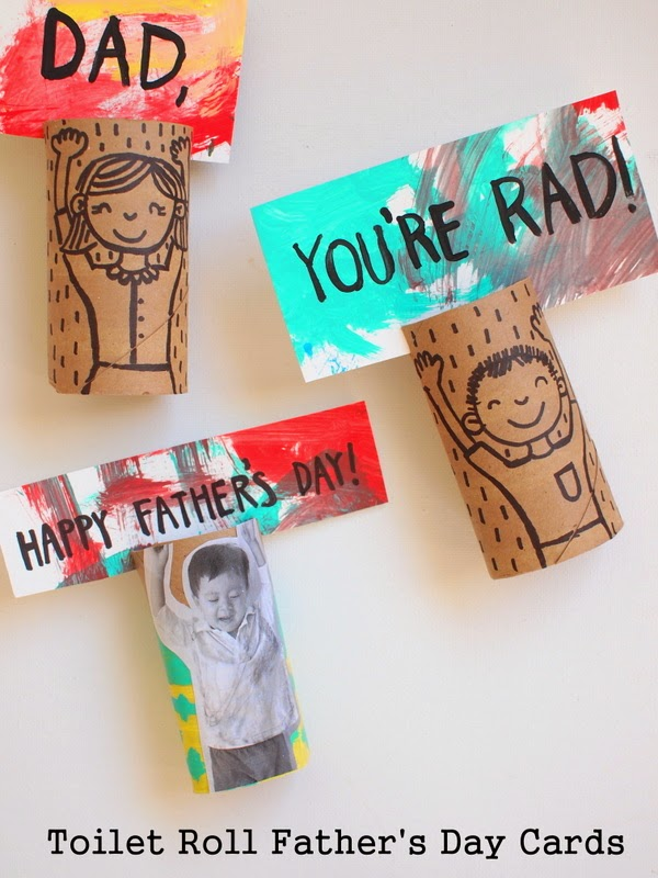 Toilet Roll Day Cards - Father's Day is almost here. Honestly, it's going to be here before you can even say,'World's Greatest Dad'. See? Today is magically Father's Day and you're standing there empty-handed. Lucky for you (and Pops), I'm here to share with you ten last minute DIY Father's Day gifts for dad so you don't have to stand there looking like a dweeb who didn't get it together in time for Daddios' big day.