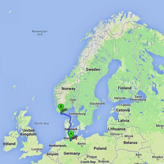 Visit Southern Norway The Long Journey From Germany To Norway On - Norway map 2014