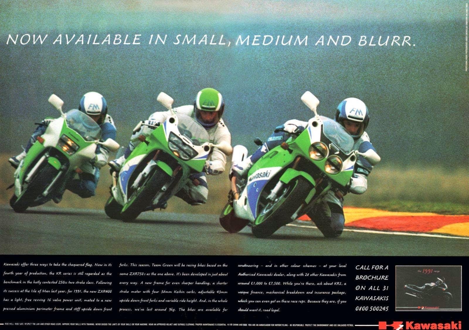 Racing Caf U00e8  Vintage Brochures  Kawasaki Kr 250  U0026 Zxr 400  U0026 Zxr 750 1991  Uk