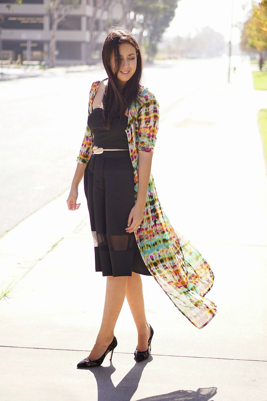 Lookbook, Latina Fashion Blogger, LA Fashion Blogger, Lookbook Store Review, Lookbook Store Maxi Cardigan, Multicolored Maxi Cardigan, Black Express Dress, Black Dress, Lace Heels, Shoemint Heels, Spring Inspiration,