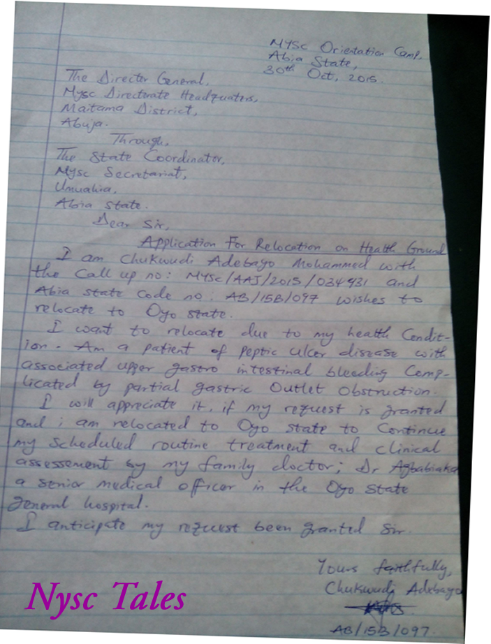 Nysc Ppa Request Letter