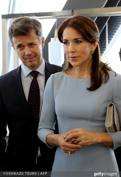 Crown Prince Frederik and Crown Princess Mary visit a fashion school to observe a workshop for seal skin fashion products in Tokyo