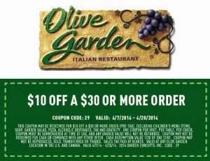 Coupon code for olive garden