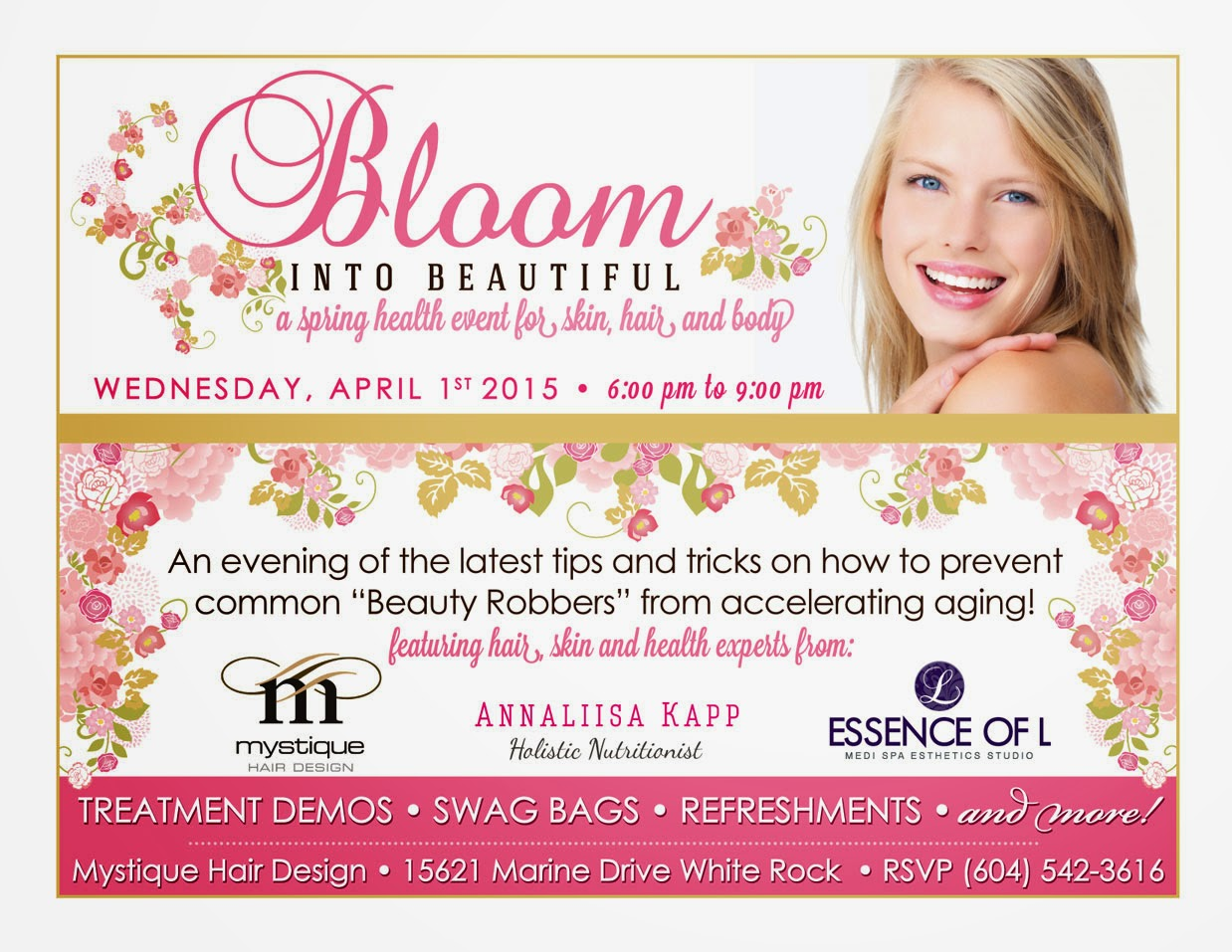 Bloom into Beautiful Event in White Rock for nutrition, skin and hair
