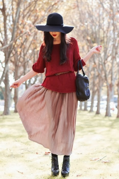 Burgundy/pink + sweater + maxi + hat!