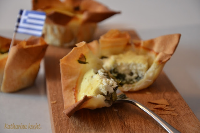 Spinat Feta Filo Filoteig Spanakopita Griechisch Muffinform