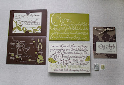 moglea wedding invitation with handmade type