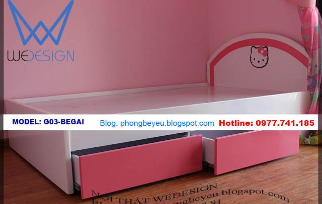Giường ngủ cho bé 2 ngăn kéo