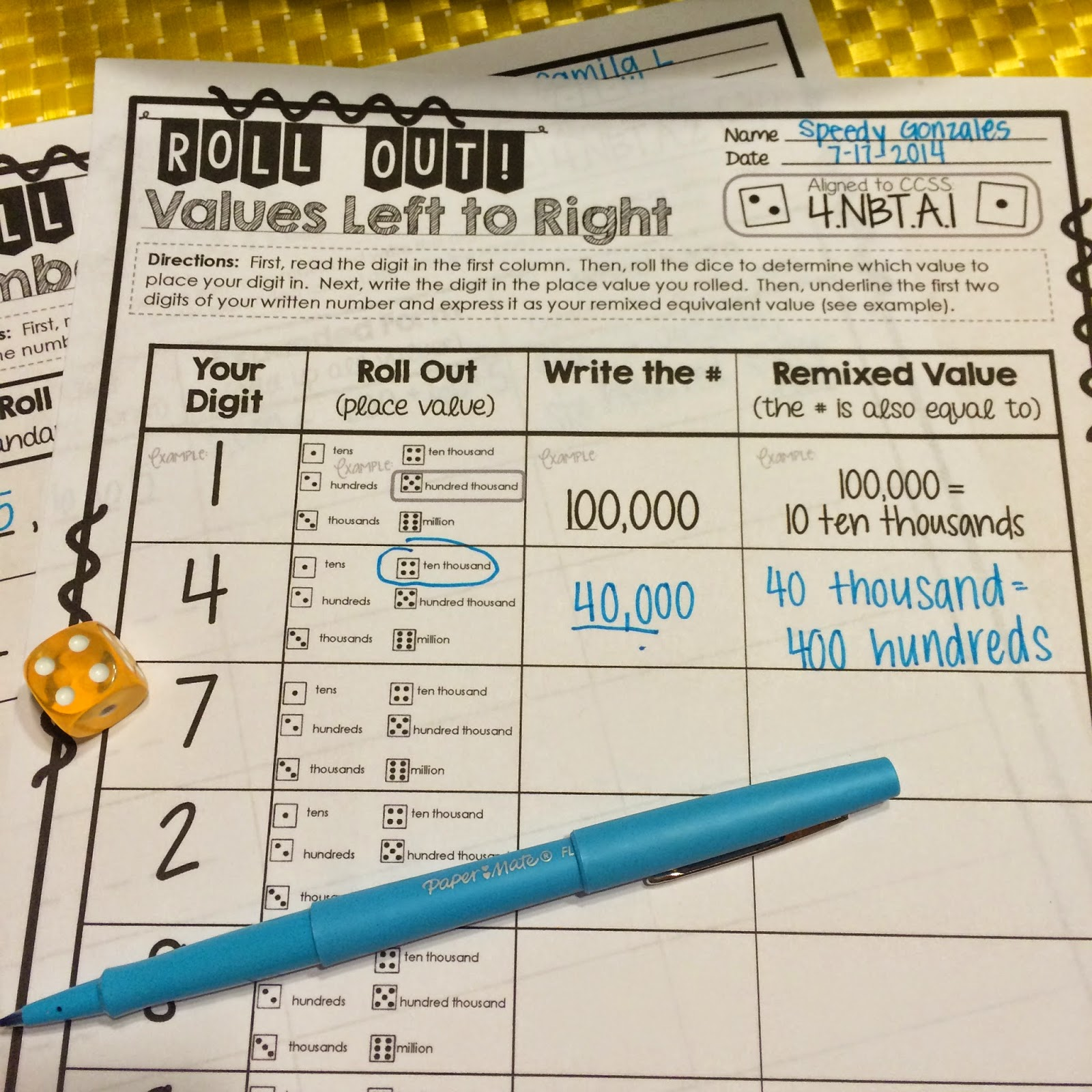 The dice games may become a math center a check for understanding or