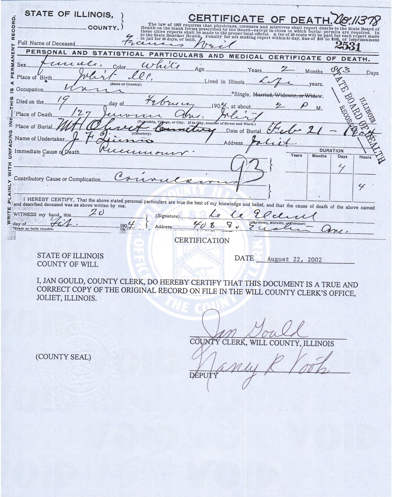 Joliet genealogy illinois death certificates 1877 1916 death certificate filed in will county illinois 20 february 1904 xflitez Choice Image
