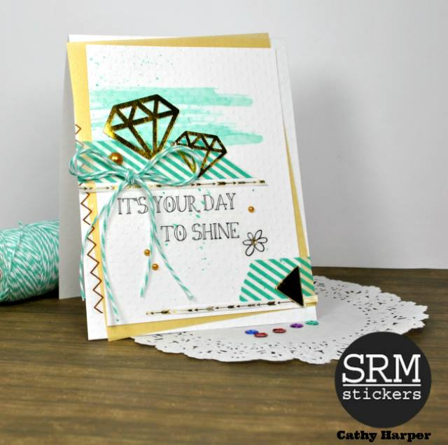 SRM Stickers Blog - Diamond in the Rough by Cathy H.- #cards #layout #17turtles #digitalcutfiles #stickers #borders #twine #stickerstitches