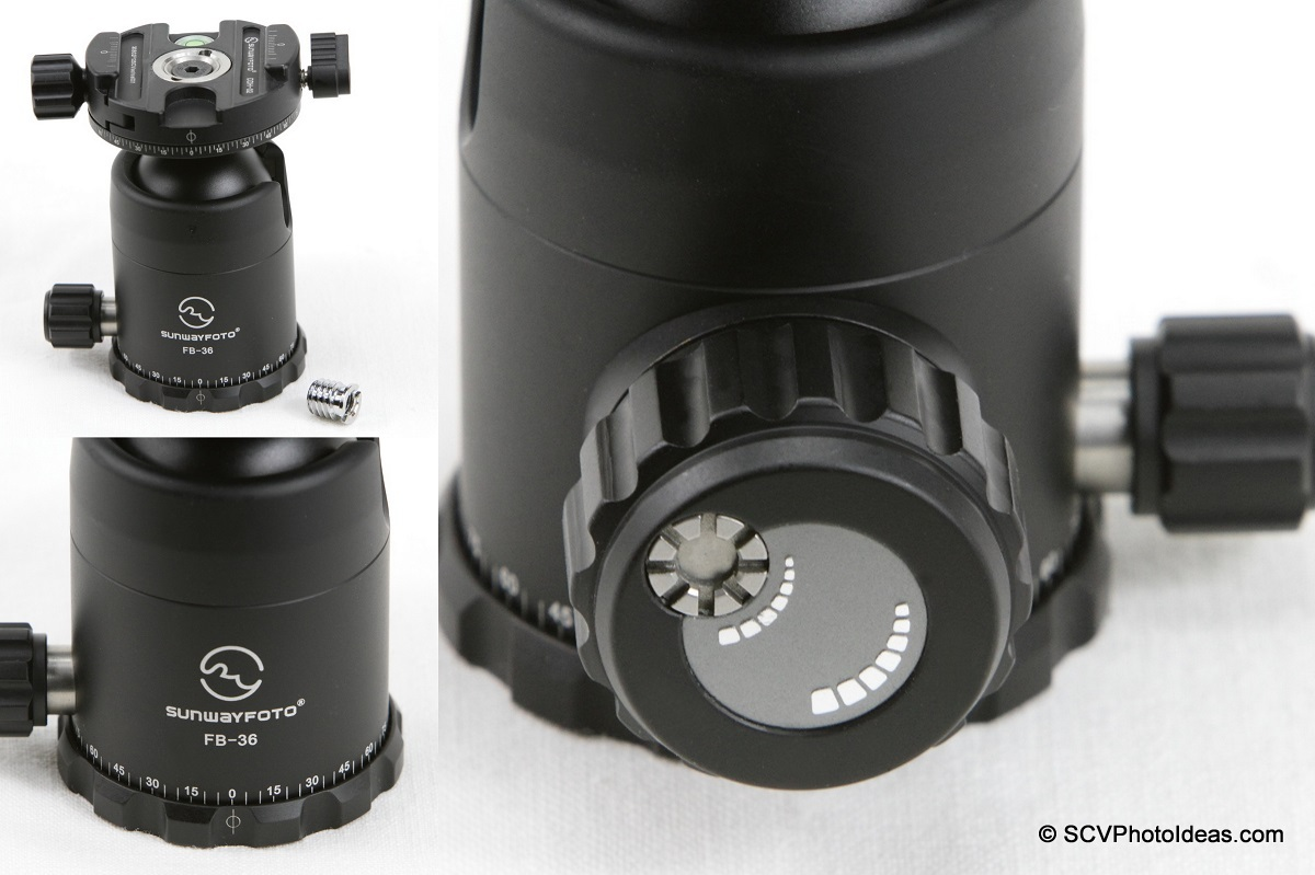 Sunwayfoto FB-36DDH Ball Head pan base and lock knob details