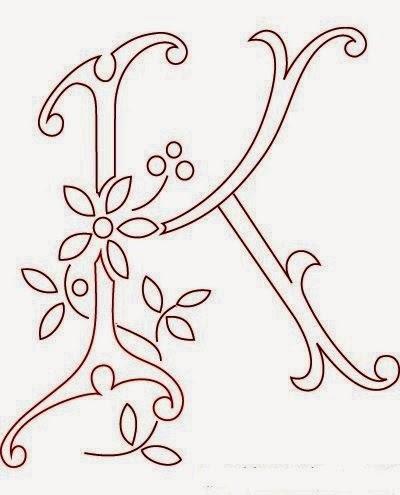 K flower calligraphy monogram tattoo stencils