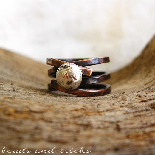 Anello con base in rame e argento 925