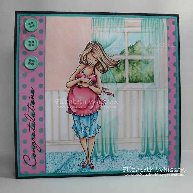 Elizabeth Whisson, Alshandra, Copic, Mo Manning, handdrawn background, Congratulations, mother to be, pregnant lady, baby, Copic colouring, copic sketch