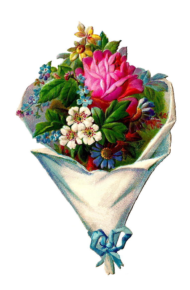 Antique images free flower clip art victorian die cut of for Picture of a bouquet of flowers