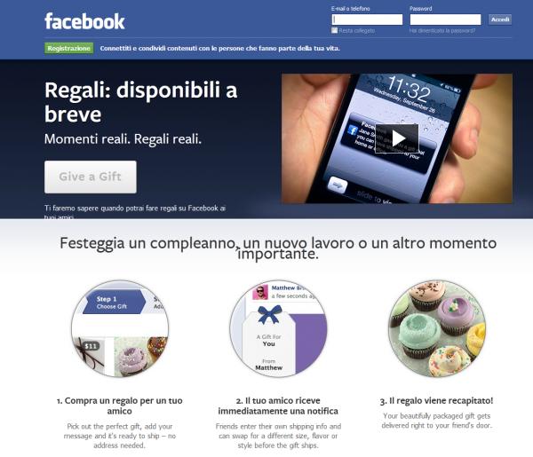 FACEBOOK GIFT - REGALA DIRETTAMENTE DAL SOCIAL NETWORK