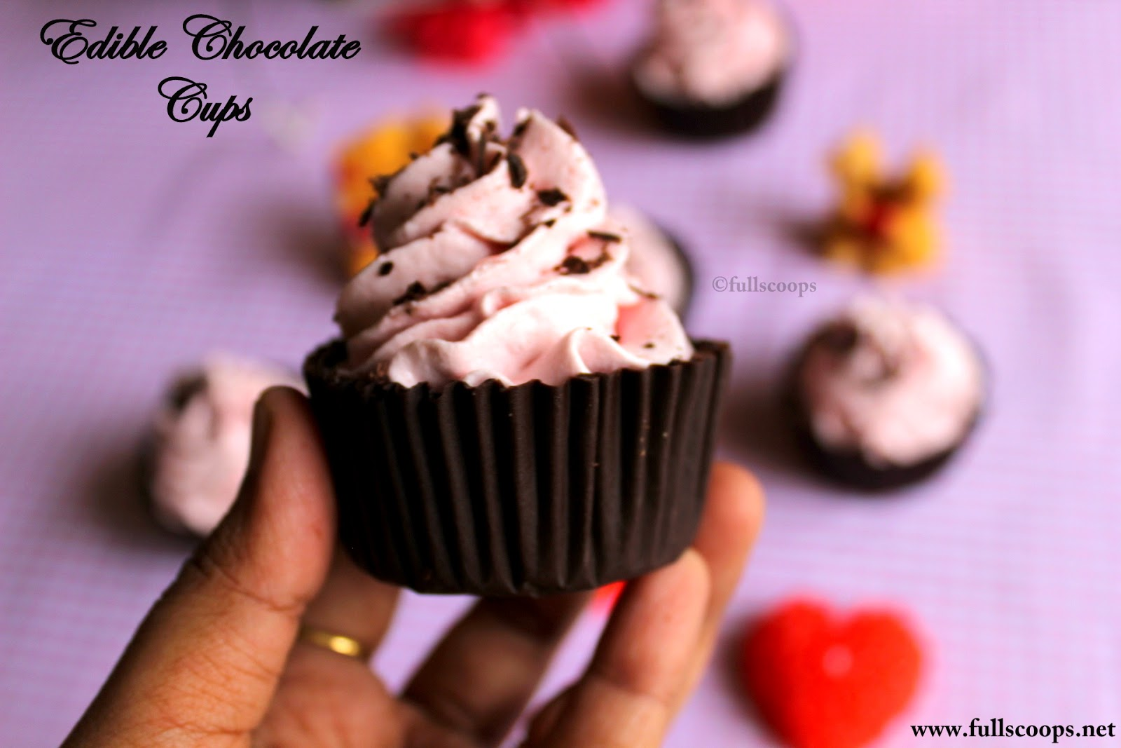 edible chocolate cups with eggless strawberry mousse scoops