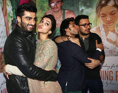 Arjun, Deepika, Ranveer at bollywood movie Finding Fanny success party