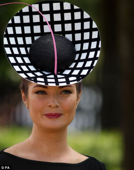 Lady Martha Lynn wearing a monochrome inspired hat on day 5 of Royal Ascot 2014
