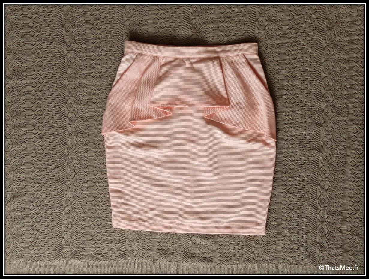 jupe à basques et tissu milleraies couleur corail saumon collection P/E 2014