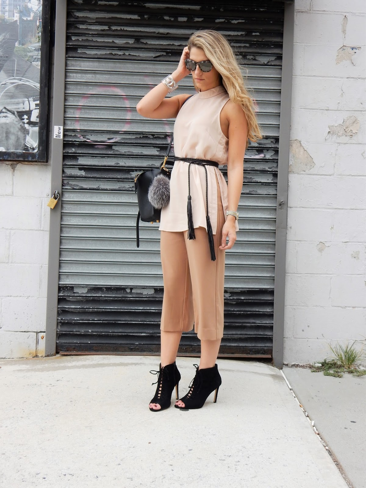 nude outfit ideas, black lace up booties