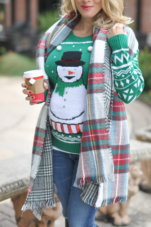 Snowman sweater and reversible plaid scarf.