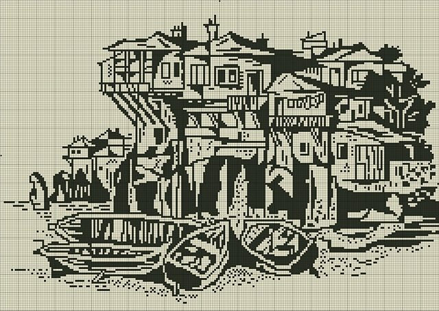 Схемы вышивки крестом монохром пейзаж