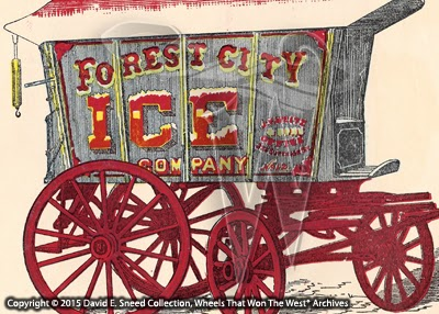 An early promotional image showing a 2-horse Knickerbocker Ice Wagon with a capacity of 4,500 pounds.