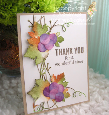 thank you card with juicy grapes die front