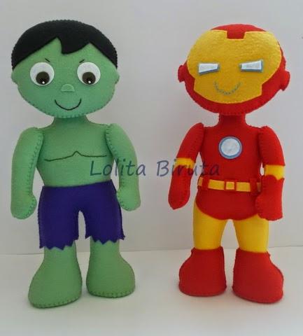 Hulk e Homem de ferro em feltro