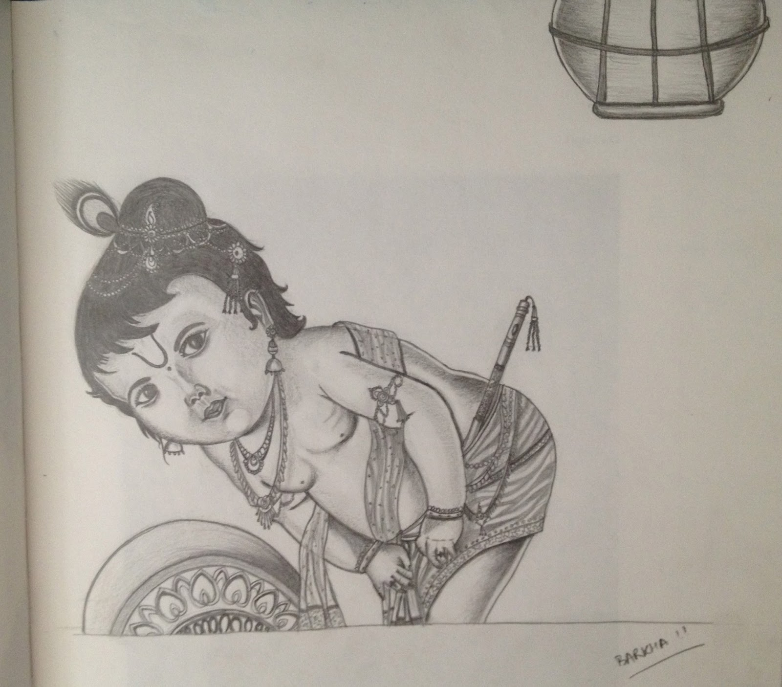Pencil sketch of krishna baal leela
