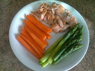 Kirjolohta, porkkanaa, parsaa.