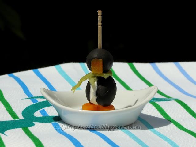Pinguinos de aceitunas negras