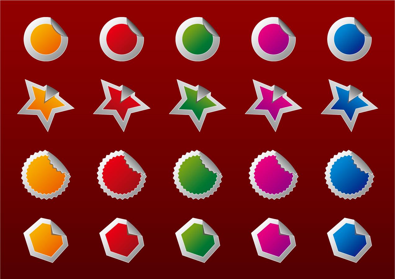 縁が捲れたカラフルなシール High quality badges イラスト素材