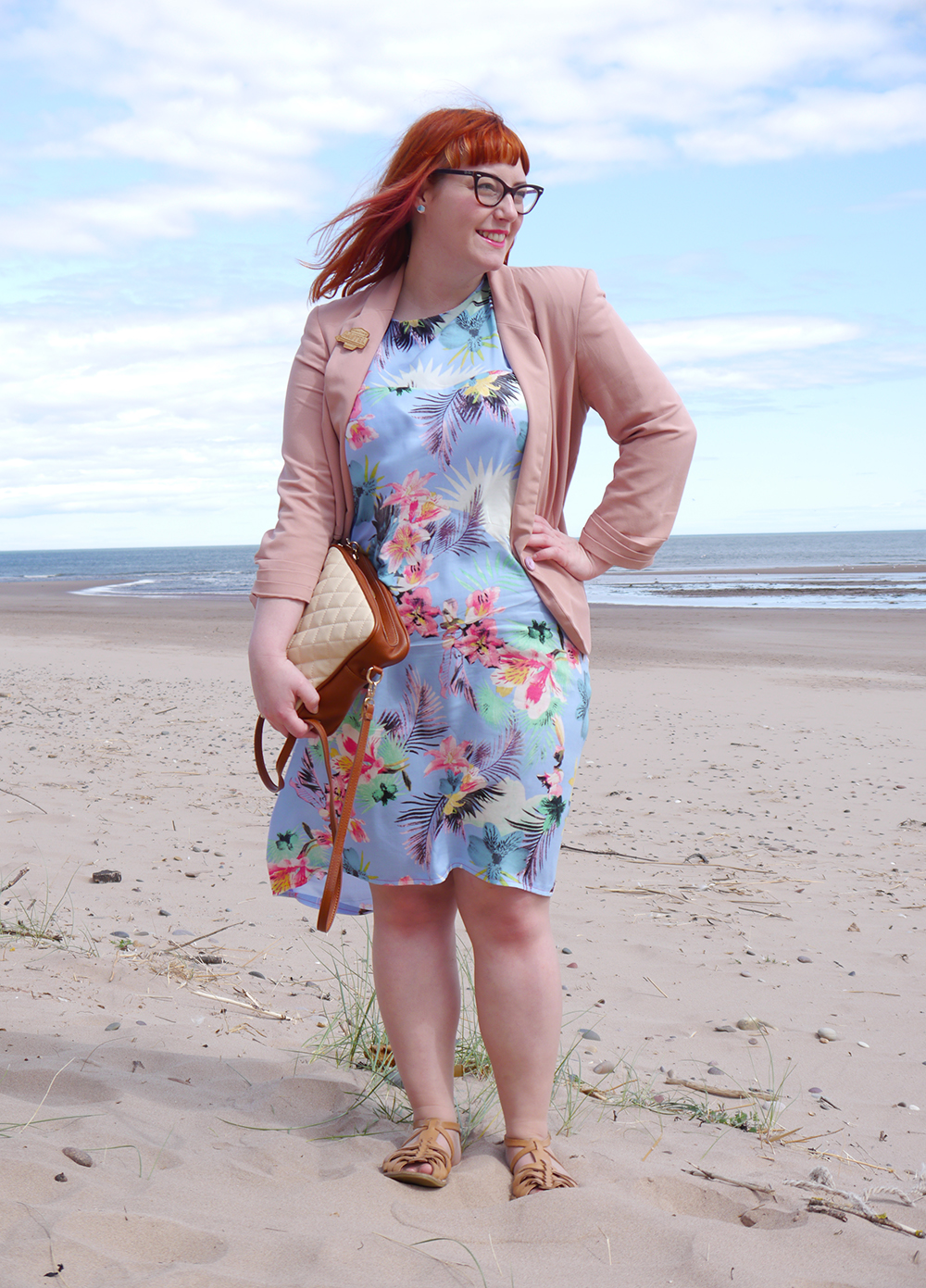summer style, tropical style, beach style, DIY dress, dressmaking, Styled by Helen: Tropical, red head, ginger, Topshop sandals, pink blazer, Tom Pigeon earrings, The Whitepepper bread bag, pink balzer, Kate Rowland, wooden jewellery