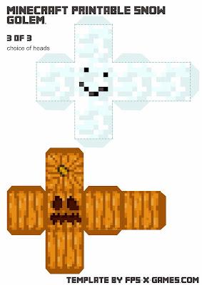 Minecraft Snow Golem - Papercraft Template 3 of 3